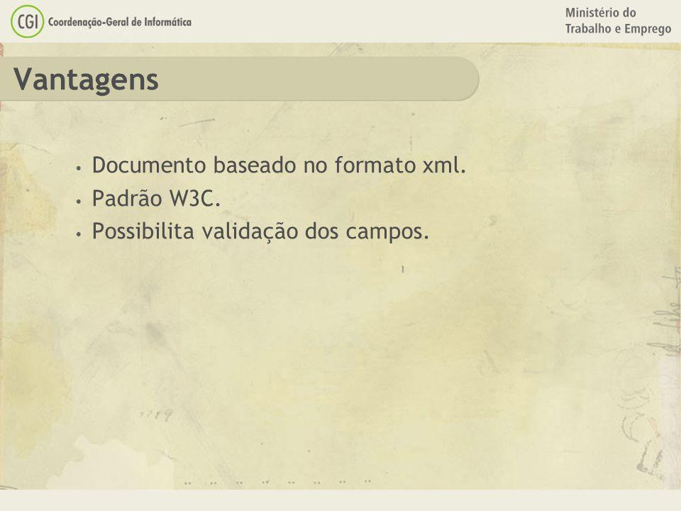Vantagens Documento baseado no formato xml. Padrão W3C. Possibilita validação dos campos.