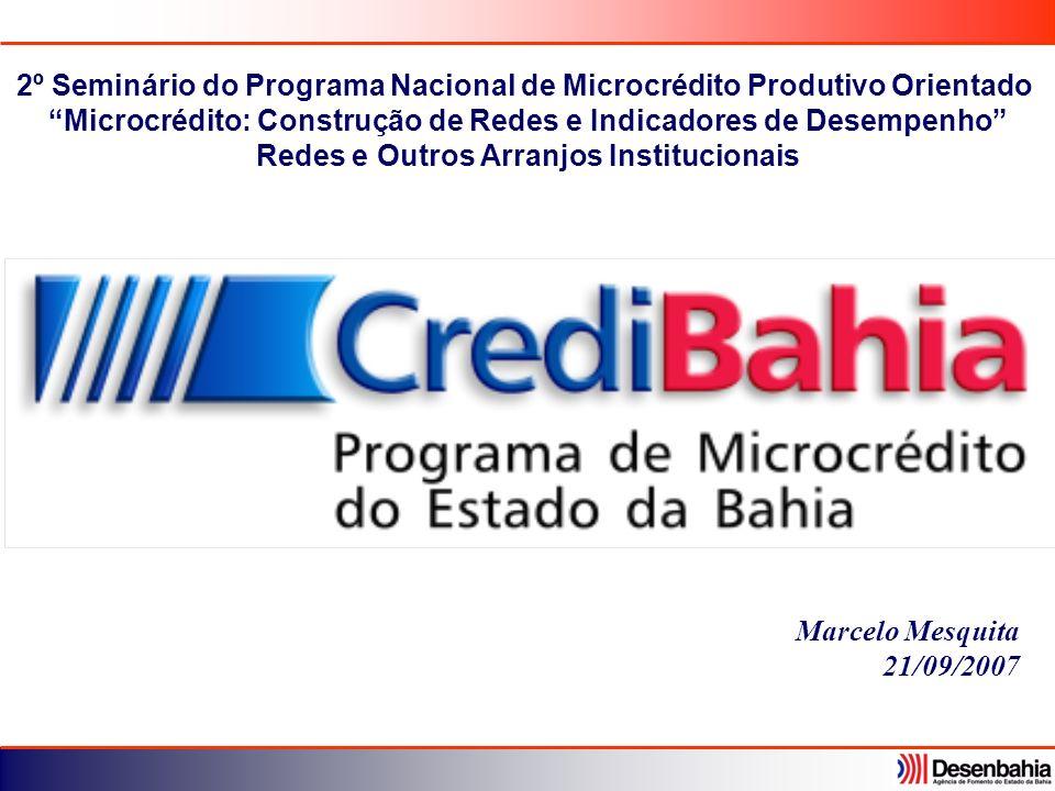 Marcelo Mesquita 21/09/2007 2º Seminário do Programa Nacional de Microcrédito Produtivo Orientado Microcrédito: Construção de Redes e Indicadores de D