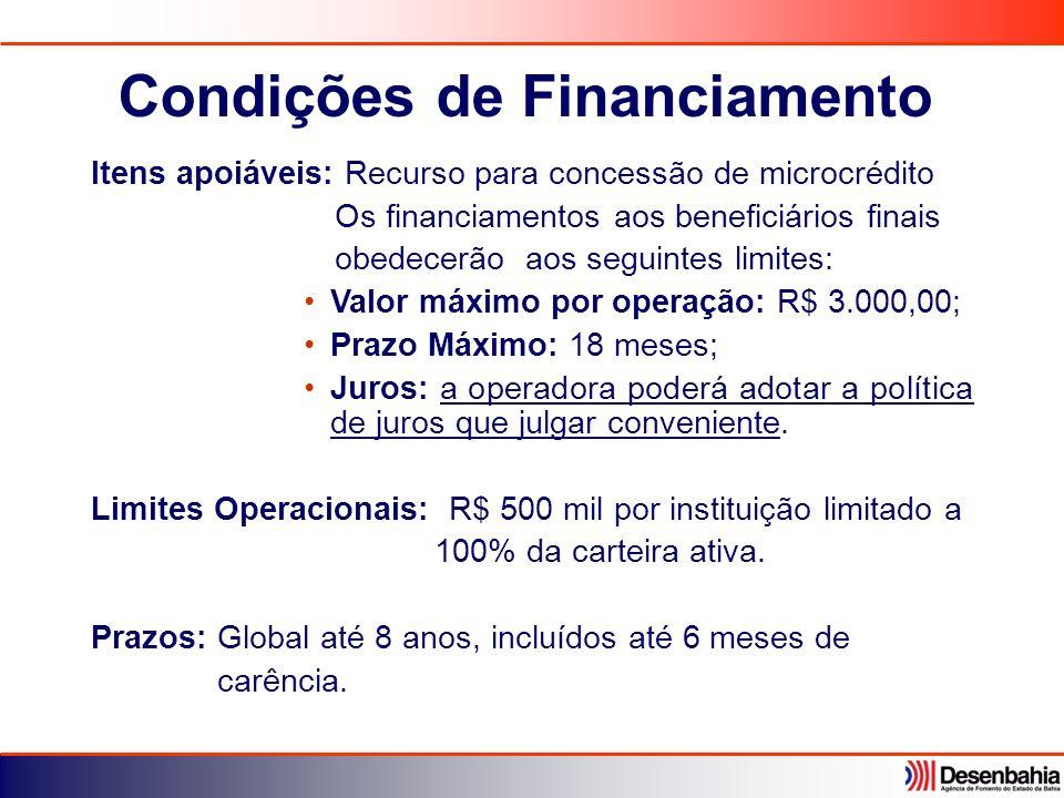 Itens apoiáveis: Recurso para concessão de microcrédito Os financiamentos aos beneficiários finais obedecerão aos seguintes limites: Valor máximo por