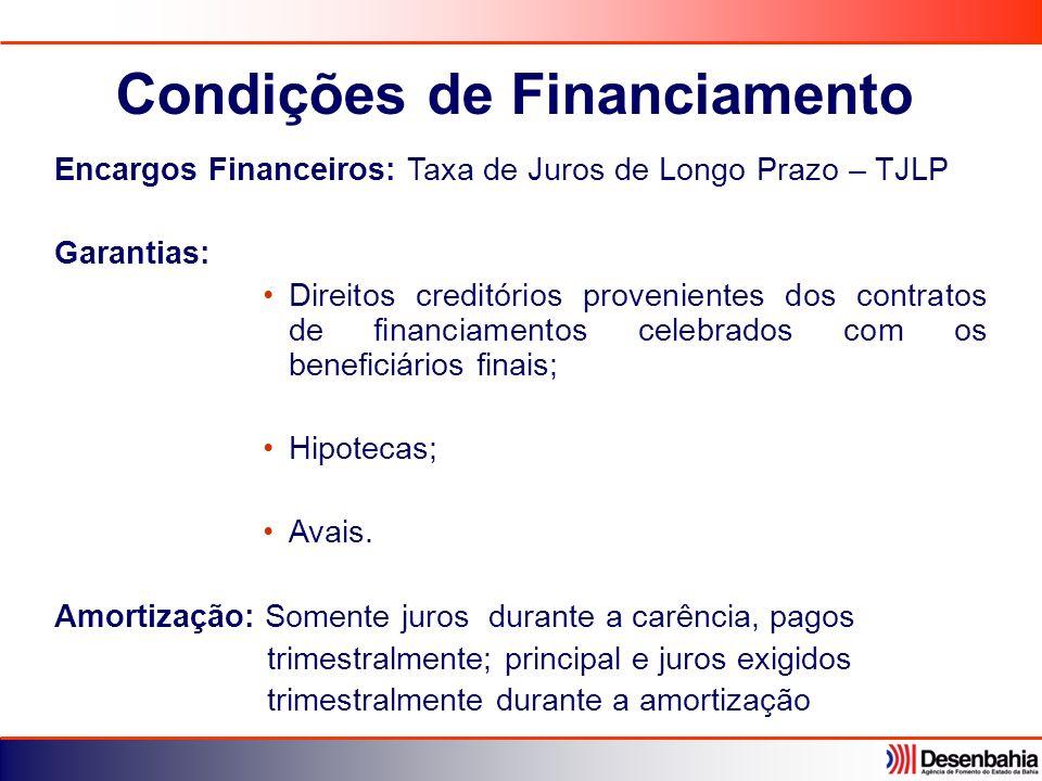 Encargos Financeiros: Taxa de Juros de Longo Prazo – TJLP Garantias: Direitos creditórios provenientes dos contratos de financiamentos celebrados com