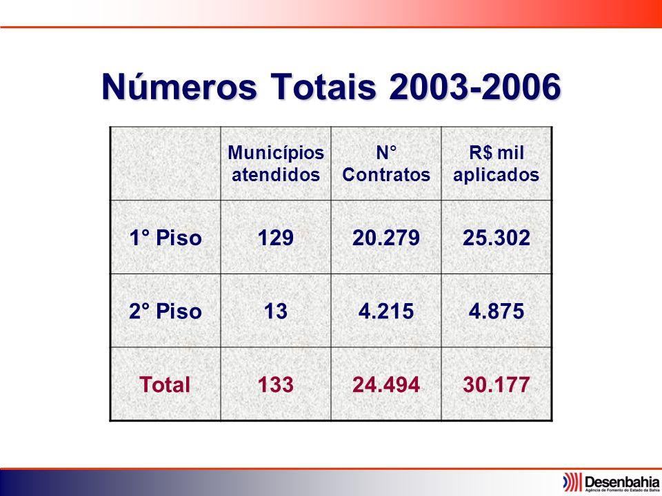 Números Totais 2003-2006 Municípios atendidos N° Contratos R$ mil aplicados 1° Piso12920.27925.302 2° Piso134.2154.875 Total13324.49430.177