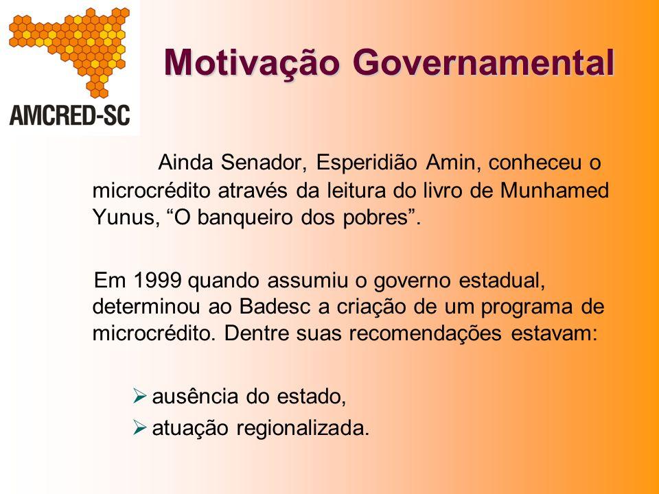 Motivação Governamental Ainda Senador, Esperidião Amin, conheceu o microcrédito através da leitura do livro de Munhamed Yunus, O banqueiro dos pobres.