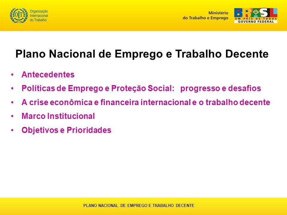 Antecedentes Políticas de Emprego e Proteção Social: progresso e desafios A crise econômica e financeira internacional e o trabalho decente Marco Inst