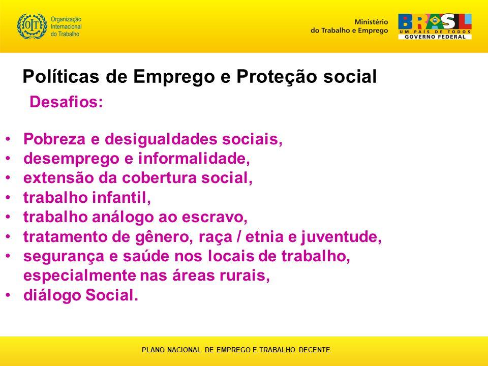 Desafios: Pobreza e desigualdades sociais, desemprego e informalidade, extensão da cobertura social, trabalho infantil, trabalho análogo ao escravo, t