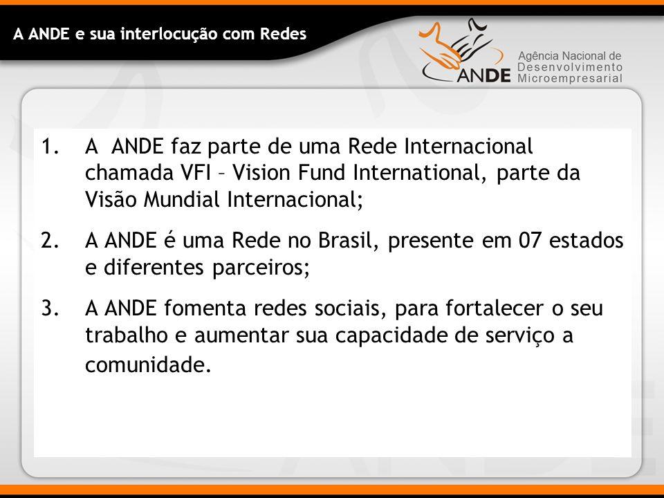 A ANDE e sua interlocução com Redes 1.A ANDE faz parte de uma Rede Internacional chamada VFI – Vision Fund International, parte da Visão Mundial Internacional; 2.A ANDE é uma Rede no Brasil, presente em 07 estados e diferentes parceiros; 3.A ANDE fomenta redes sociais, para fortalecer o seu trabalho e aumentar sua capacidade de serviço a comunidade.