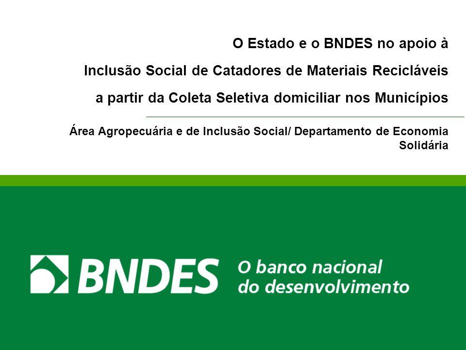 Área Agropecuária e de Inclusão Social/ Departamento de Economia Solidária Out/2012 O Estado e o BNDES no apoio à Inclusão Social de Catadores de Mate