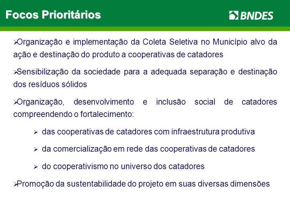 Organização e implementação da Coleta Seletiva no Município alvo da ação e destinação do produto a cooperativas de catadores Sensibilização da socieda