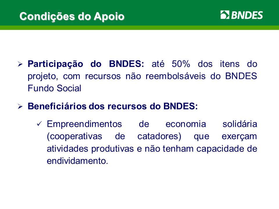 Condições do Apoio Participação do BNDES: até 50% dos itens do projeto, com recursos não reembolsáveis do BNDES Fundo Social Beneficiários dos recurso
