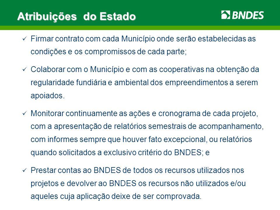 Firmar contrato com cada Município onde serão estabelecidas as condições e os compromissos de cada parte; Colaborar com o Município e com as cooperati