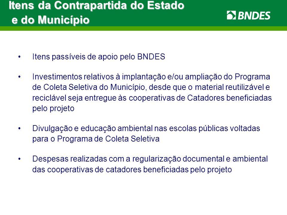 Itens passíveis de apoio pelo BNDES Investimentos relativos à implantação e/ou ampliação do Programa de Coleta Seletiva do Município, desde que o mate
