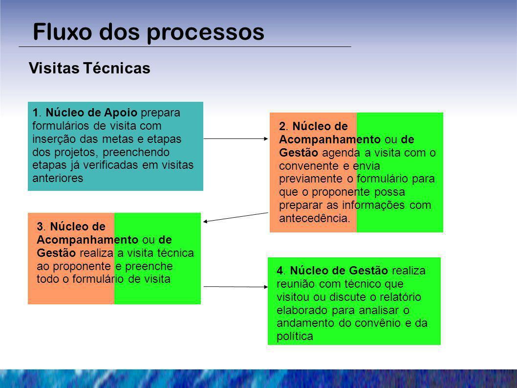 Fluxo dos processos Visitas Técnicas 1. Núcleo de Apoio prepara formulários de visita com inserção das metas e etapas dos projetos, preenchendo etapas
