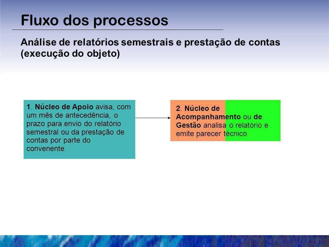 Fluxo dos processos Análise de relatórios semestrais e prestação de contas (execução do objeto) 1. Núcleo de Apoio avisa, com um mês de antecedência,