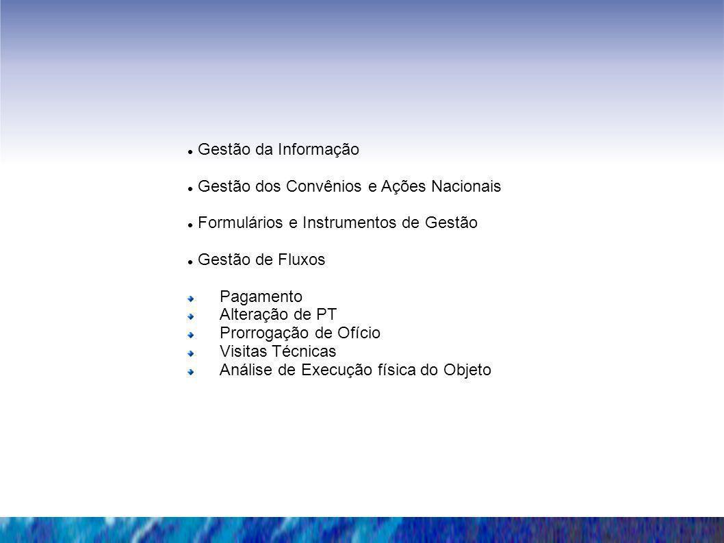 Gestão da Informação Gestão dos Convênios e Ações Nacionais Formulários e Instrumentos de Gestão Gestão de Fluxos Pagamento Alteração de PT Prorrogaçã