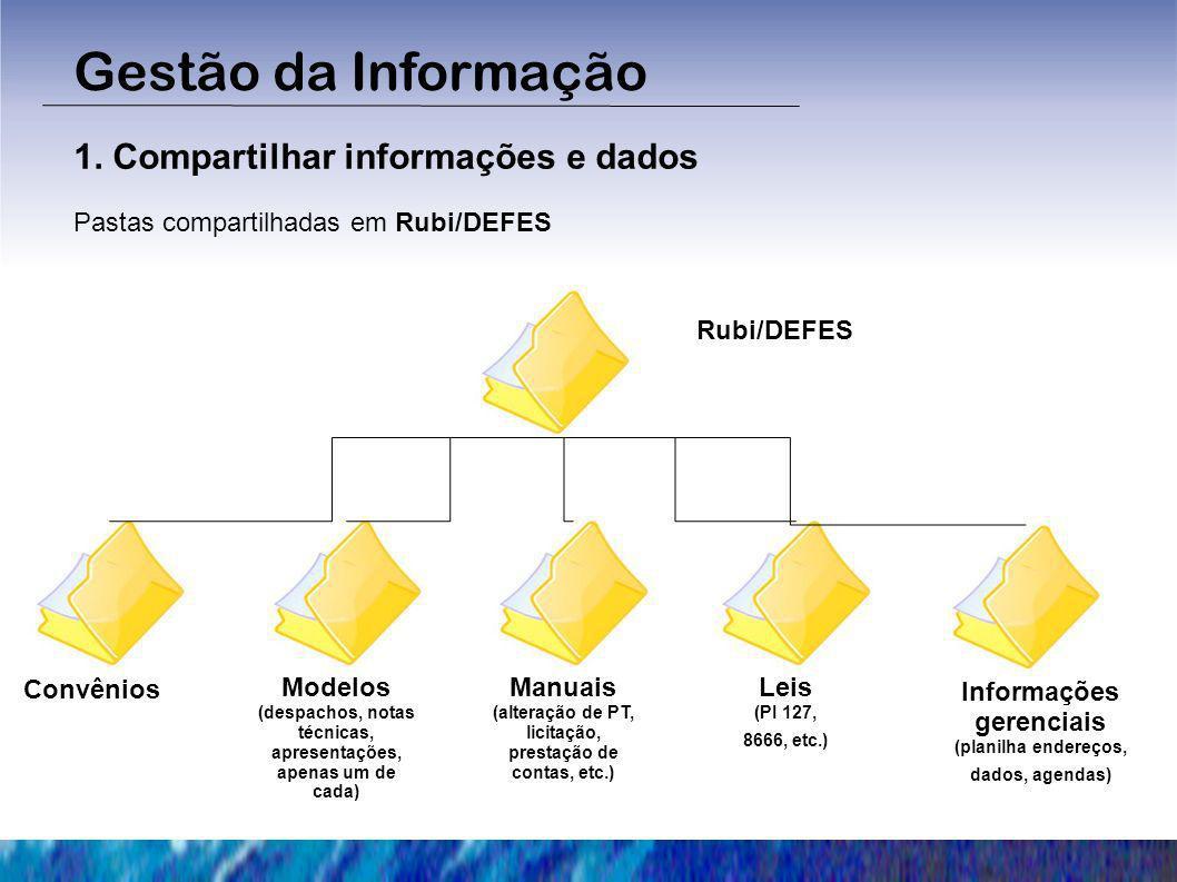 Convênios Regras de organização e nomenclatura das pastas Nome da entidade – objeto – n° SICONV (ex.