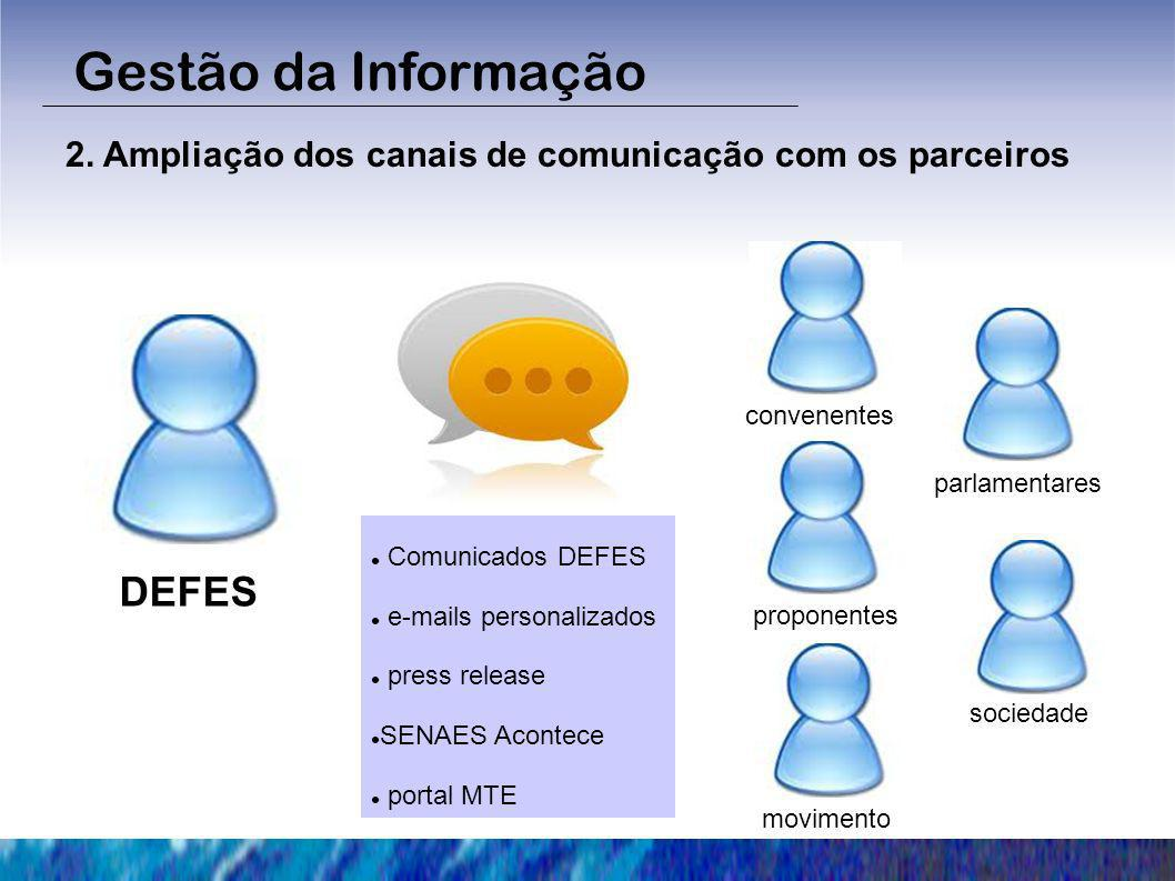 Gestão da Informação DEFES 2. Ampliação dos canais de comunicação com os parceiros convenentes proponentes movimento sociedade parlamentares Comunicad