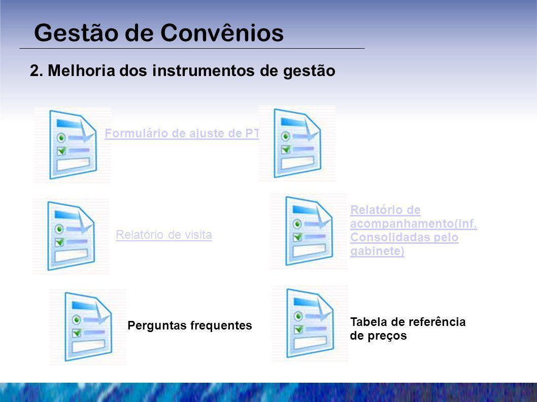 2. Melhoria dos instrumentos de gestão Gestão de Convênios Formulário de ajuste de PT Relatório de acompanhamento(inf. Consolidadas pelo gabinete) Per