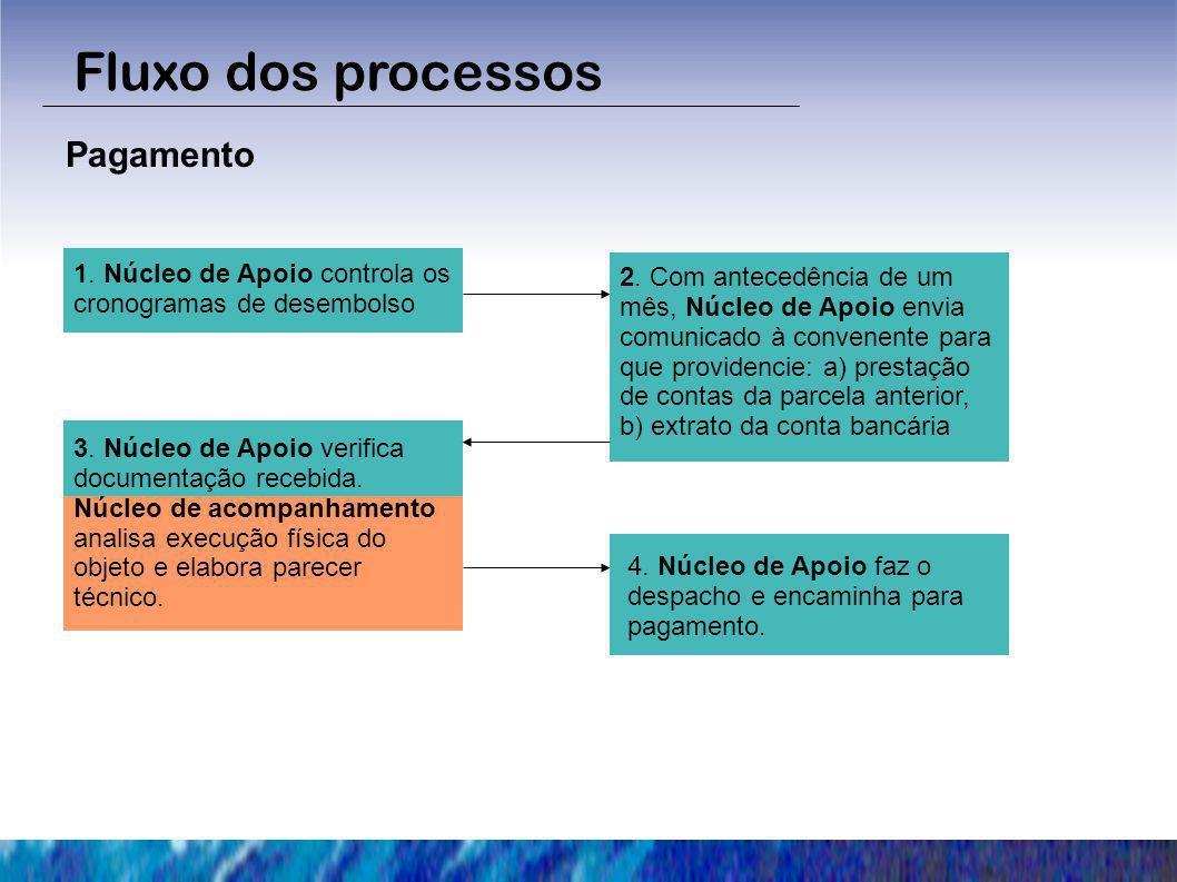 Fluxo dos processos Pagamento 1. Núcleo de Apoio controla os cronogramas de desembolso 2. Com antecedência de um mês, Núcleo de Apoio envia comunicado