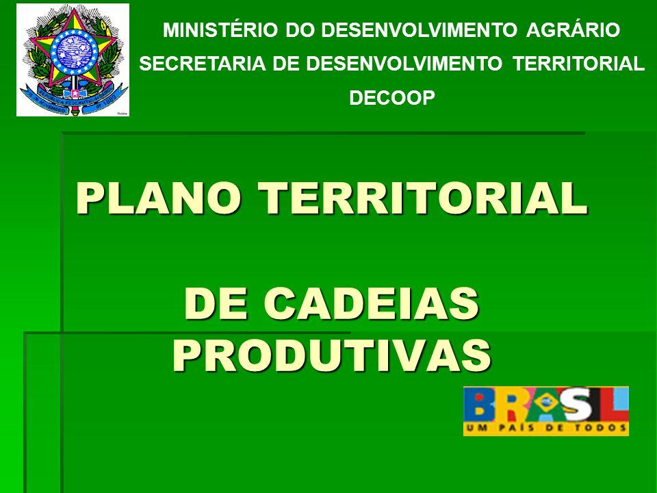 PLANO TERRITORIAL DE CADEIAS PRODUTIVAS MINISTÉRIO DO DESENVOLVIMENTO AGRÁRIO SECRETARIA DE DESENVOLVIMENTO TERRITORIAL DECOOP