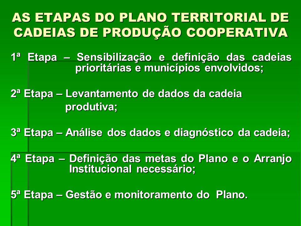 AS ETAPAS DO PLANO TERRITORIAL DE CADEIAS DE PRODUÇÃO COOPERATIVA 1ª Etapa – Sensibilização e definição das cadeias prioritárias e municípios envolvid