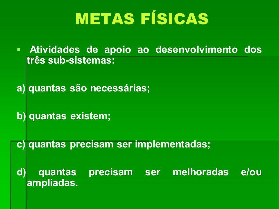 METAS FÍSICAS Atividades de apoio ao desenvolvimento dos três sub-sistemas: a) quantas são necessárias; b) quantas existem; c) quantas precisam ser im
