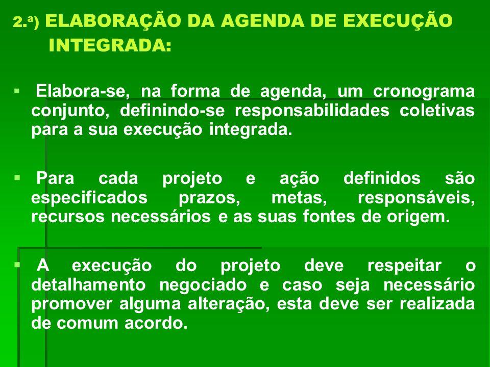 2.ª) ELABORAÇÃO DA AGENDA DE EXECUÇÃO INTEGRADA: Elabora-se, na forma de agenda, um cronograma conjunto, definindo-se responsabilidades coletivas para