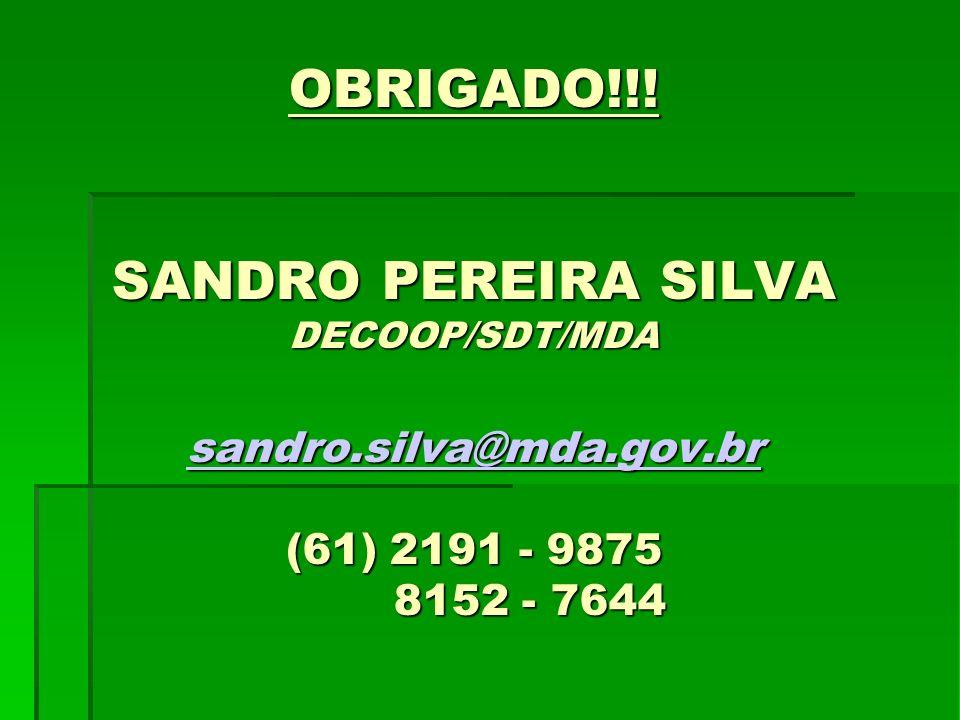 OBRIGADO!!! SANDRO PEREIRA SILVA DECOOP/SDT/MDA sandro.silva@mda.gov.br (61) 2191 - 9875 8152 - 7644 sandro.silva@mda.gov.br