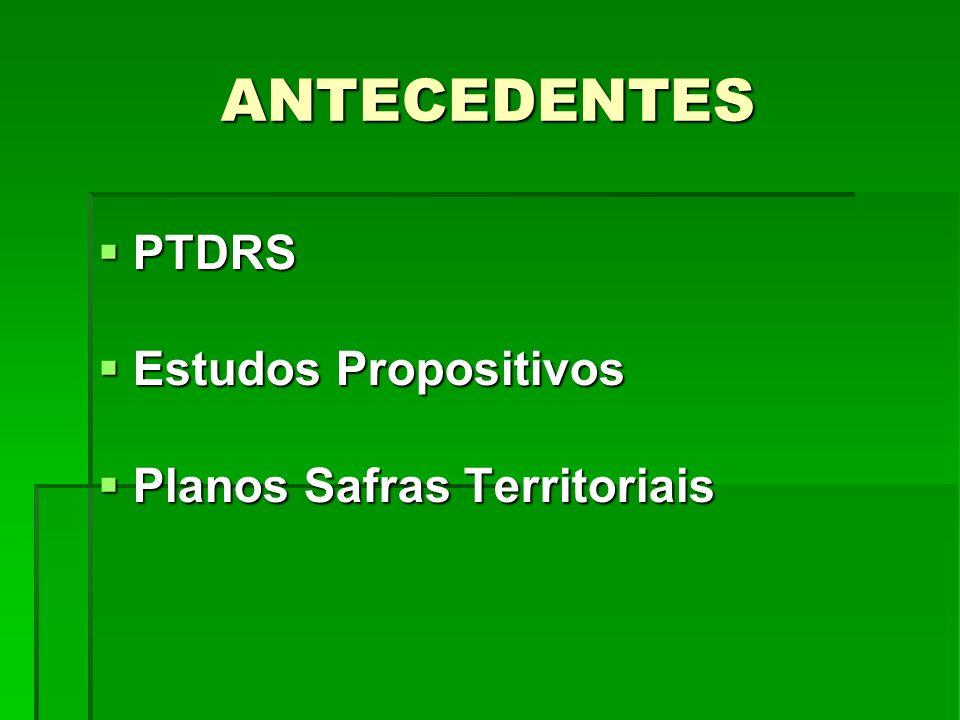 ANTECEDENTES PTDRS PTDRS Estudos Propositivos Estudos Propositivos Planos Safras Territoriais Planos Safras Territoriais