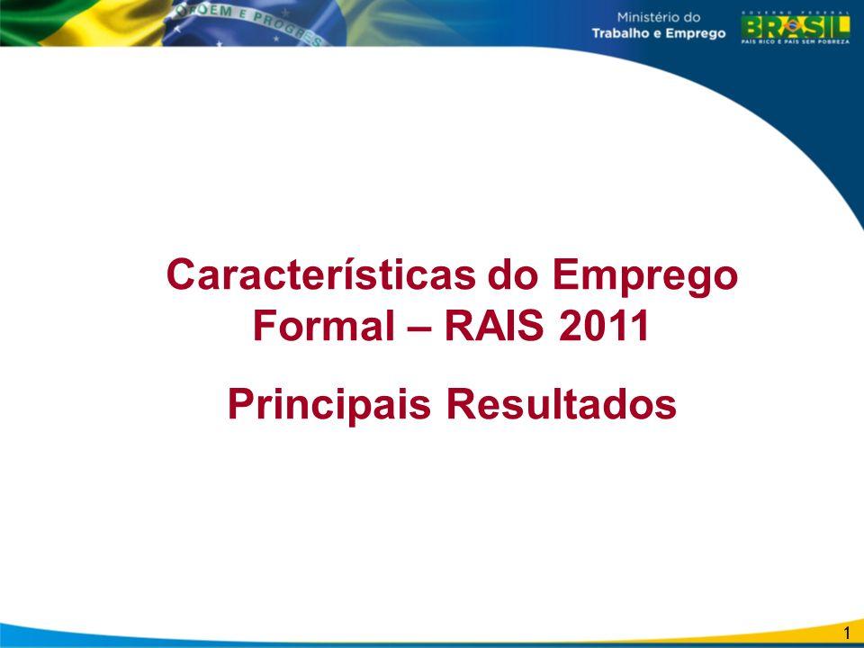 Características do Emprego Formal – RAIS 2011 Principais Resultados 1