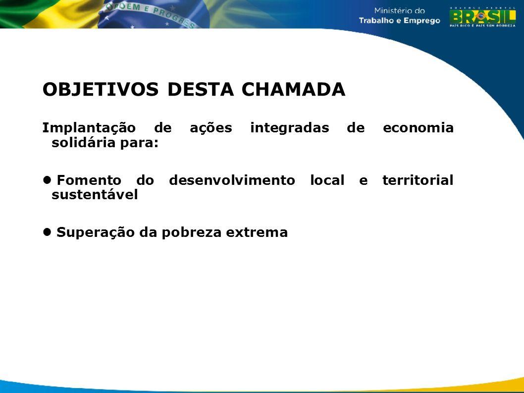 OBJETIVOS DESTA CHAMADA Implantação de ações integradas de economia solidária para: Fomento do desenvolvimento local e territorial sustentável Superaç