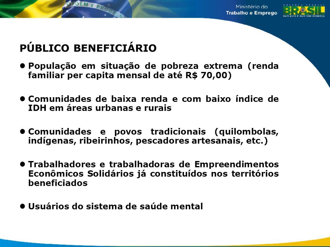 PÚBLICO BENEFICIÁRIO População em situação de pobreza extrema (renda familiar per capita mensal de até R$ 70,00) Comunidades de baixa renda e com baix