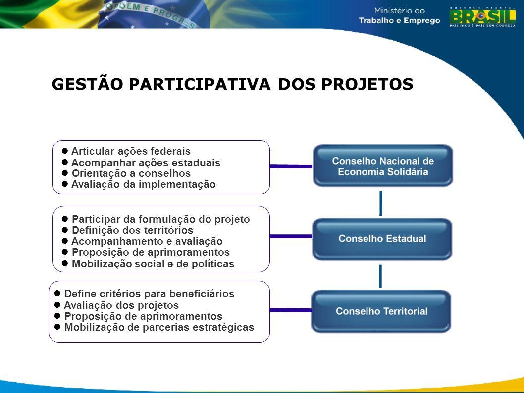 GESTÃO PARTICIPATIVA DOS PROJETOS Articular ações federais Acompanhar ações estaduais Orientação a conselhos Avaliação da implementação Participar da