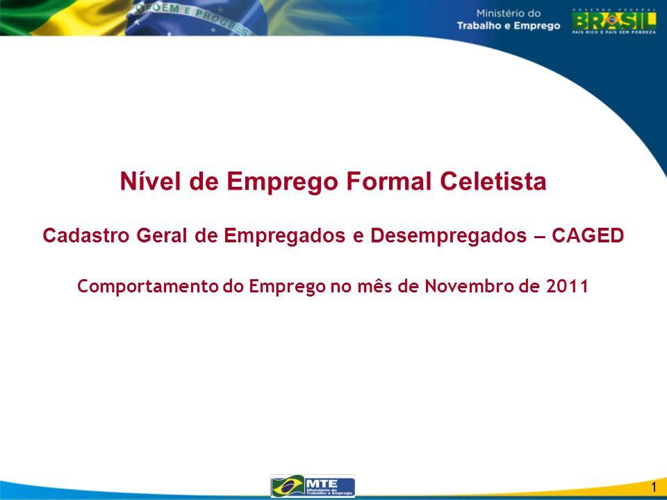 Nível de Emprego Formal Celetista Cadastro Geral de Empregados e Desempregados – CAGED Comportamento do Emprego no mês de Novembro de 2011 1