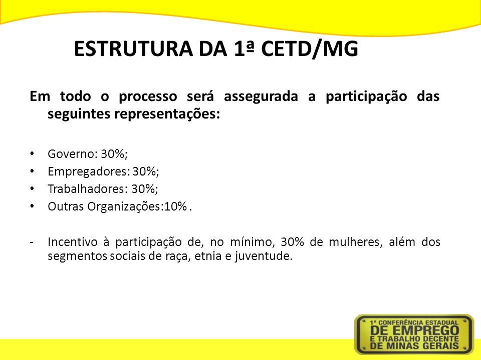 ESTRUTURA DA 1ª CETD/MG Em todo o processo será assegurada a participação das seguintes representações: Governo: 30%; Empregadores: 30%; Trabalhadores: 30%; Outras Organizações:10%.