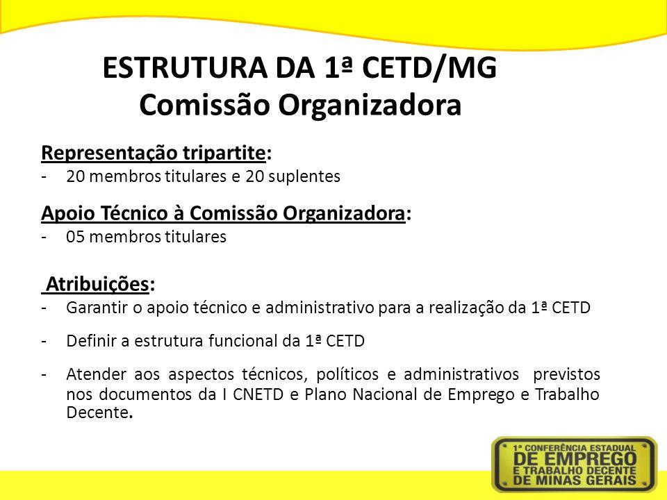 ESTRUTURA DA 1ª CETD/MG Comissão Organizadora Representação tripartite: -20 membros titulares e 20 suplentes Apoio Técnico à Comissão Organizadora: -0