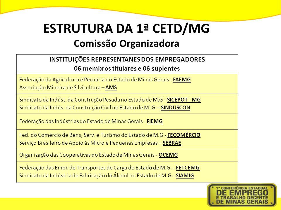 ESTRUTURA DA 1ª CETD/MG Comissão Organizadora INSTITUIÇÕES REPRESENTANES DOS EMPREGADORES 06 membros titulares e 06 suplentes Federação da Agricultura e Pecuária do Estado de Minas Gerais - FAEMG Associação Mineira de Silvicultura – AMS Sindicato da Indúst.