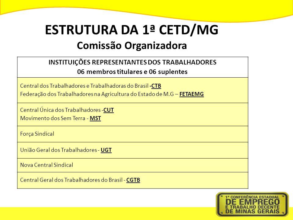 ESTRUTURA DA 1ª CETD/MG Comissão Organizadora INSTITUIÇÕES REPRESENTANTES DOS TRABALHADORES 06 membros titulares e 06 suplentes Central dos Trabalhadores e Trabalhadoras do Brasil -CTB Federação dos Trabalhadores na Agricultura do Estado de M.G – FETAEMG Central Única dos Trabalhadores -CUT Movimento dos Sem Terra - MST Força Sindical União Geral dos Trabalhadores - UGT Nova Central Sindical Central Geral dos Trabalhadores do Brasil - CGTB