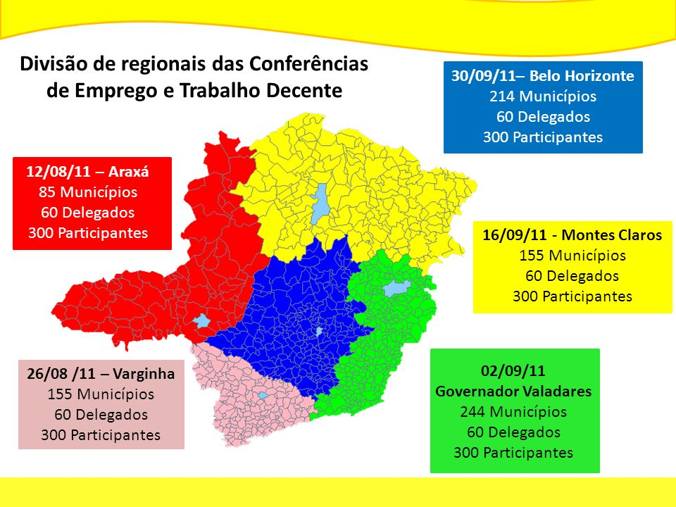 12/08/11 – Araxá 85 Municípios 60 Delegados 300 Participantes 26/08 /11 – Varginha 155 Municípios 60 Delegados 300 Participantes 30/09/11– Belo Horizonte 214 Municípios 60 Delegados 300 Participantes 16/09/11 - Montes Claros 155 Municípios 60 Delegados 300 Participantes 02/09/11 Governador Valadares 244 Municípios 60 Delegados 300 Participantes Divisão de regionais das Conferências de Emprego e Trabalho Decente