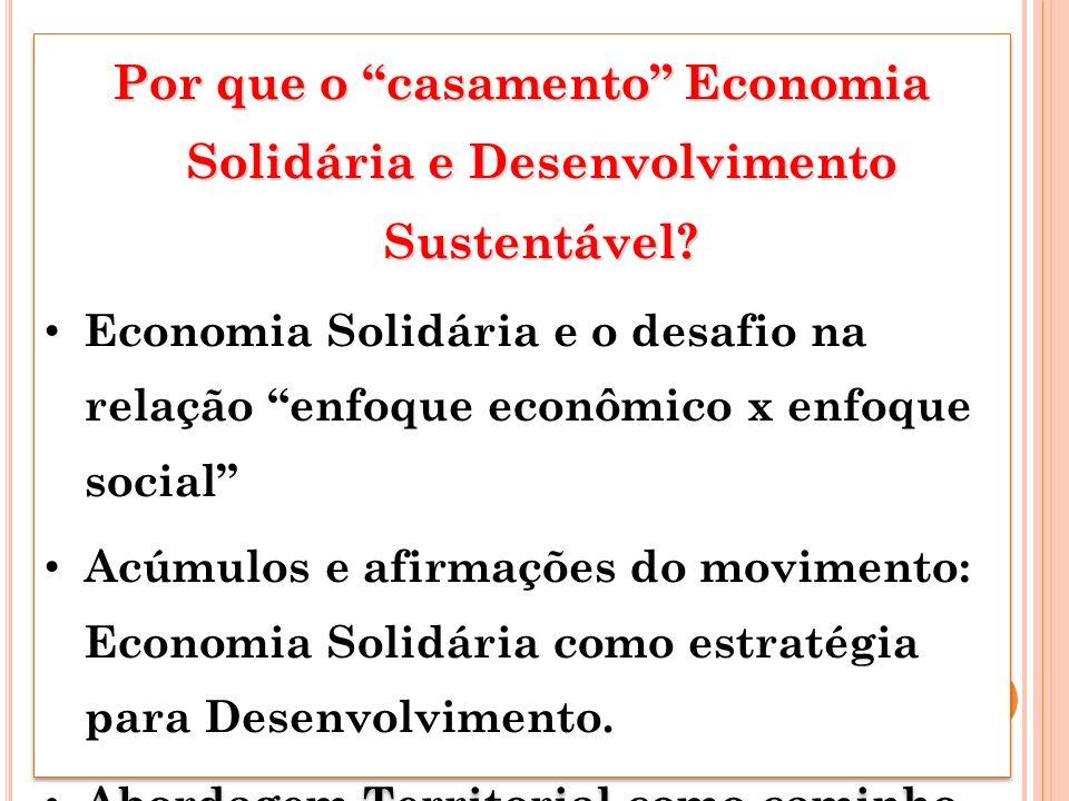 Por que o casamento Economia Solidária e Desenvolvimento Sustentável? Economia Solidária e o desafio na relação enfoque econômico x enfoque social Acú