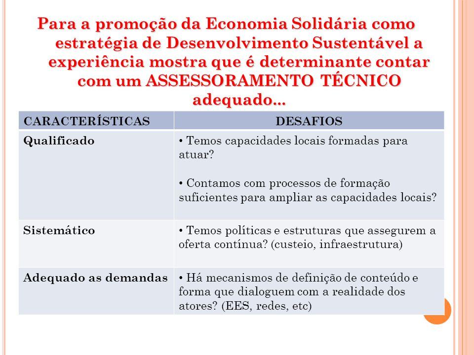 Para a promoção da Economia Solidária como estratégia de Desenvolvimento Sustentável a experiência mostra que é determinante contar com um ASSESSORAME