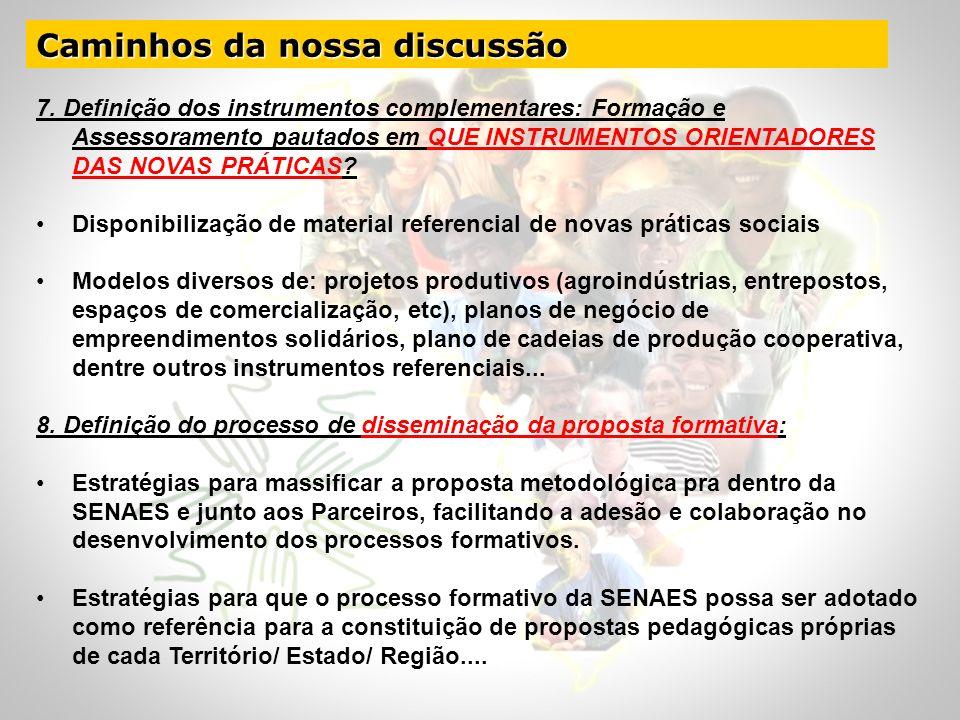 Caminhos da nossa discussão 7. Definição dos instrumentos complementares: Formação e Assessoramento pautados em QUE INSTRUMENTOS ORIENTADORES DAS NOVA