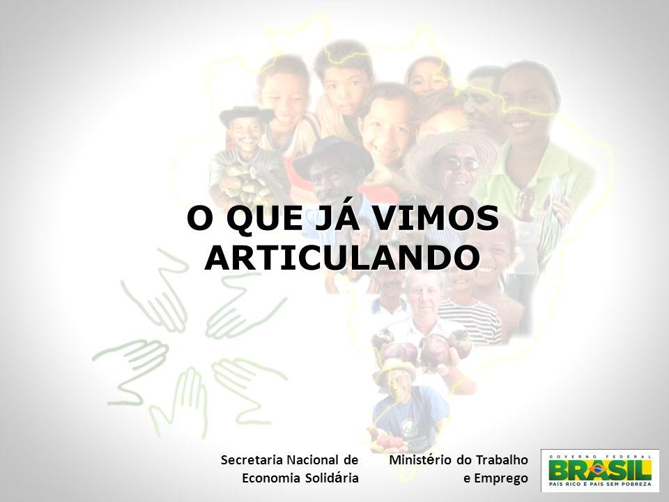 O QUE JÁ VIMOS ARTICULANDO Secretaria Nacional de Economia Solid á ria Minist é rio do Trabalho e Emprego