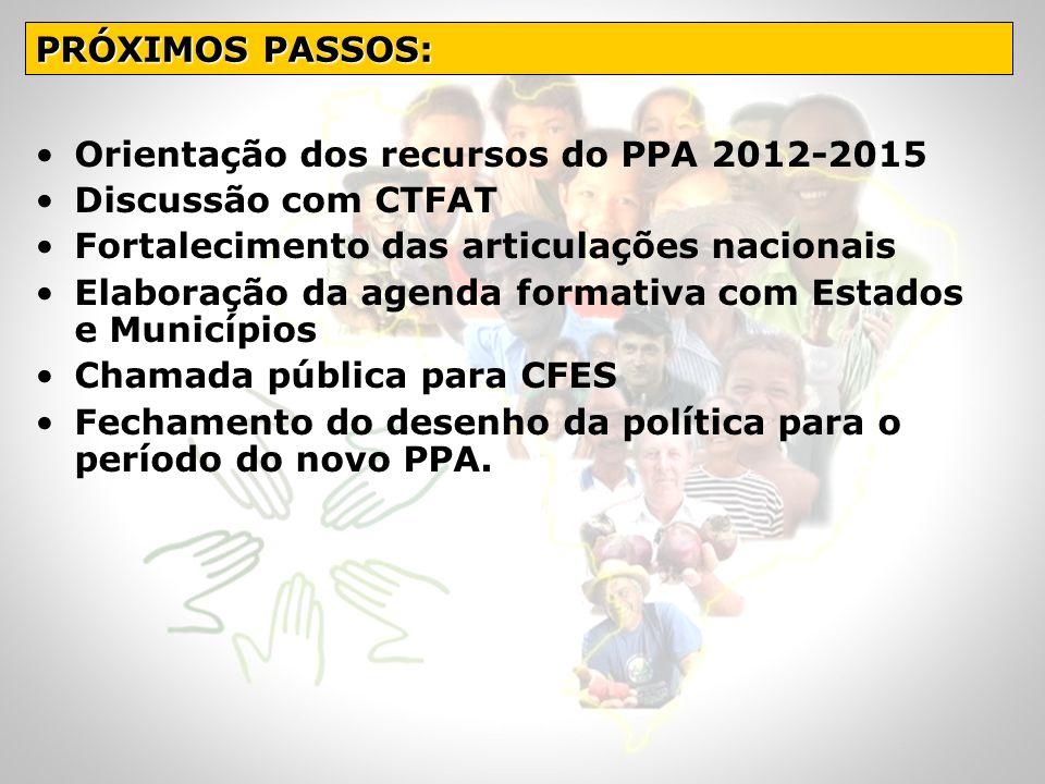 Orientação dos recursos do PPA 2012-2015 Discussão com CTFAT Fortalecimento das articulações nacionais Elaboração da agenda formativa com Estados e Mu