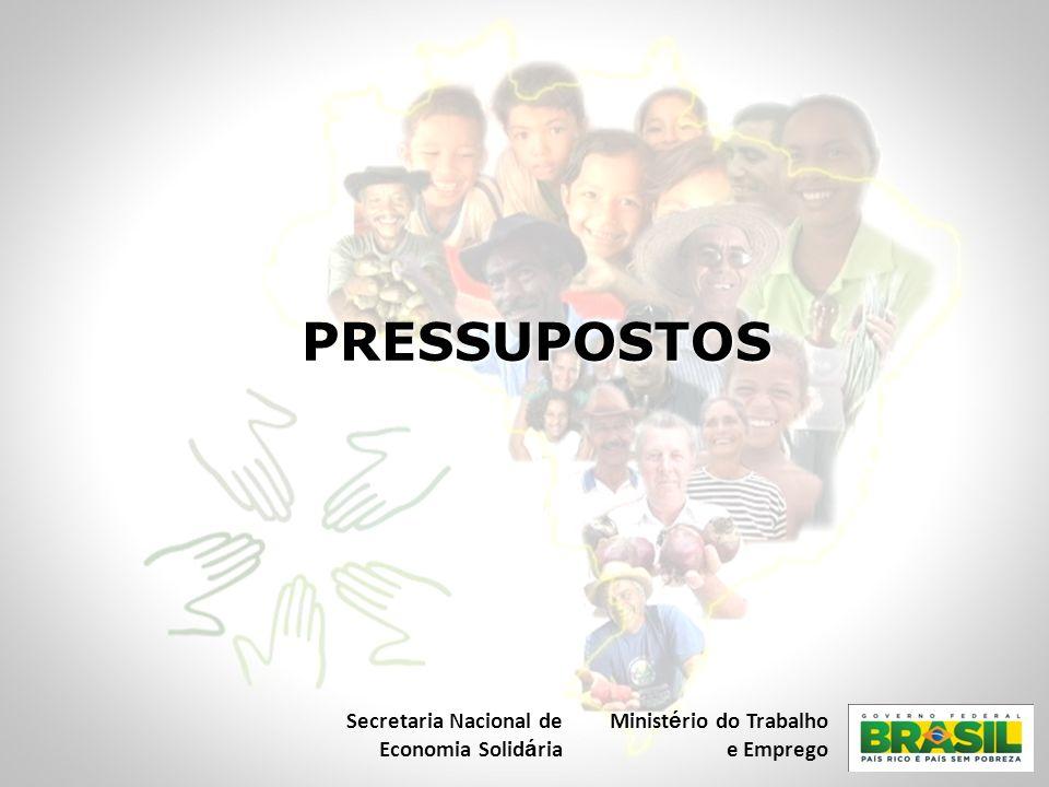 PRESSUPOSTOS Secretaria Nacional de Economia Solid á ria Minist é rio do Trabalho e Emprego