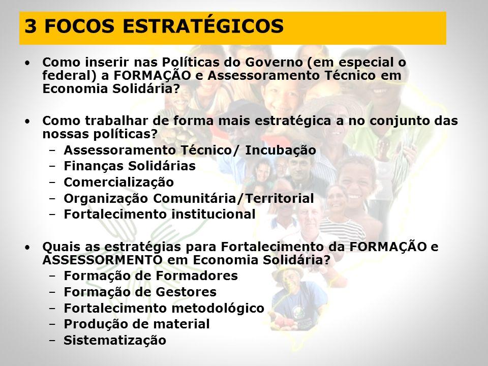3 FOCOS ESTRATÉGICOS Como inserir nas Políticas do Governo (em especial o federal) a FORMAÇÃO e Assessoramento Técnico em Economia Solidária? Como tra