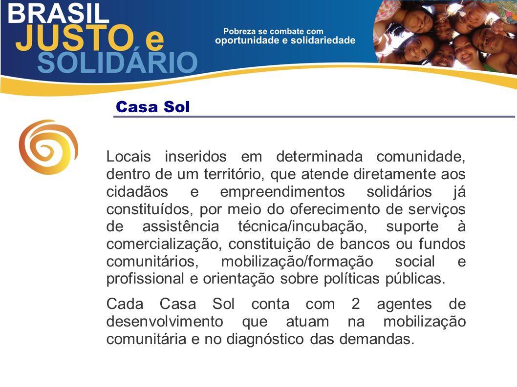 Casa Sol Locais inseridos em determinada comunidade, dentro de um território, que atende diretamente aos cidadãos e empreendimentos solidários já cons