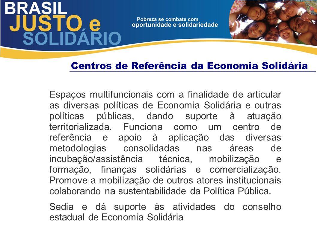 Espaços multifuncionais com a finalidade de articular as diversas políticas de Economia Solidária e outras políticas públicas, dando suporte à atuação