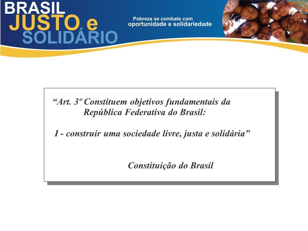 Art. 3º Constituem objetivos fundamentais da República Federativa do Brasil: I - construir uma sociedade livre, justa e solidária Constituição do Bras