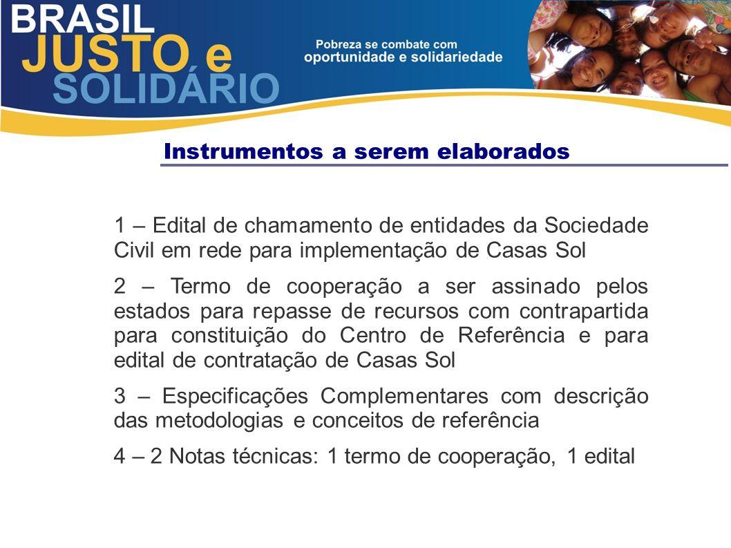 Instrumentos a serem elaborados 1 – Edital de chamamento de entidades da Sociedade Civil em rede para implementação de Casas Sol 2 – Termo de cooperaç