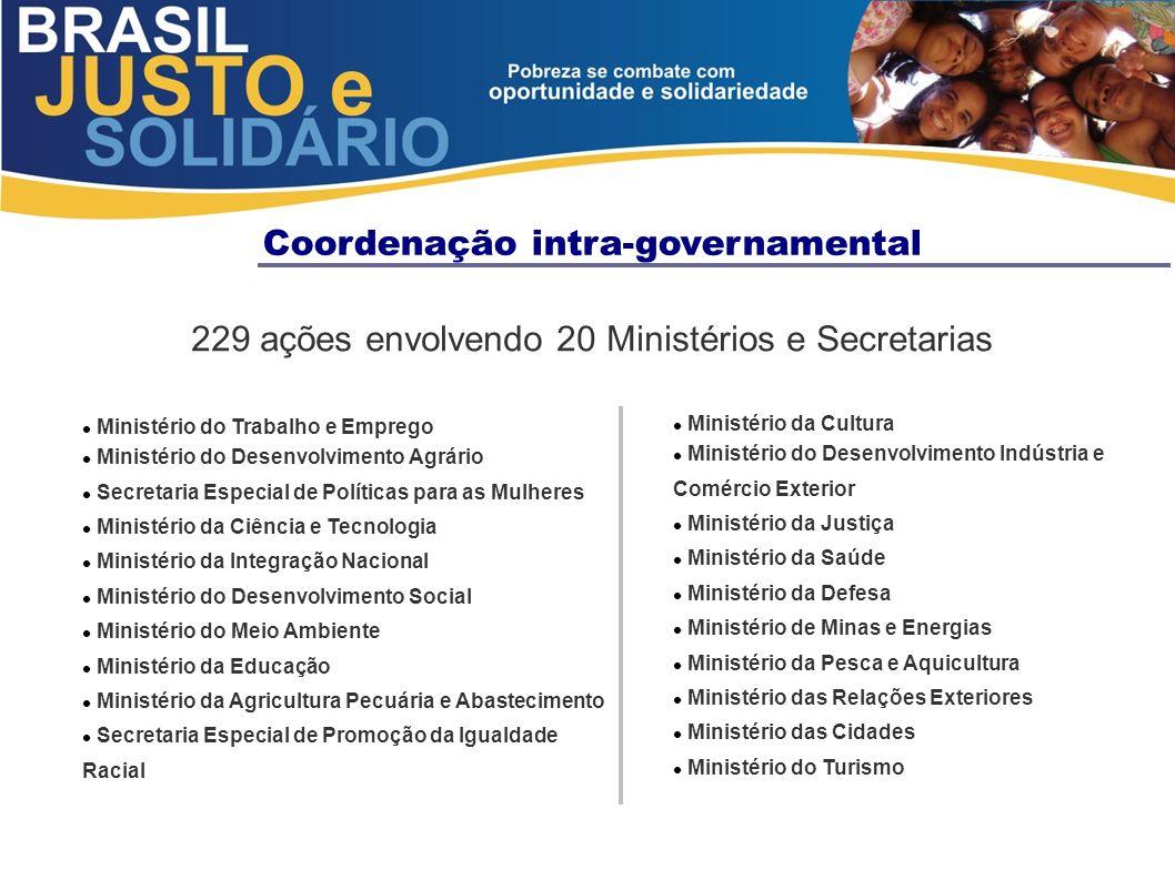 Coordenação intra-governamental 229 ações envolvendo 20 Ministérios e Secretarias Ministério do Trabalho e Emprego Ministério do Desenvolvimento Agrár