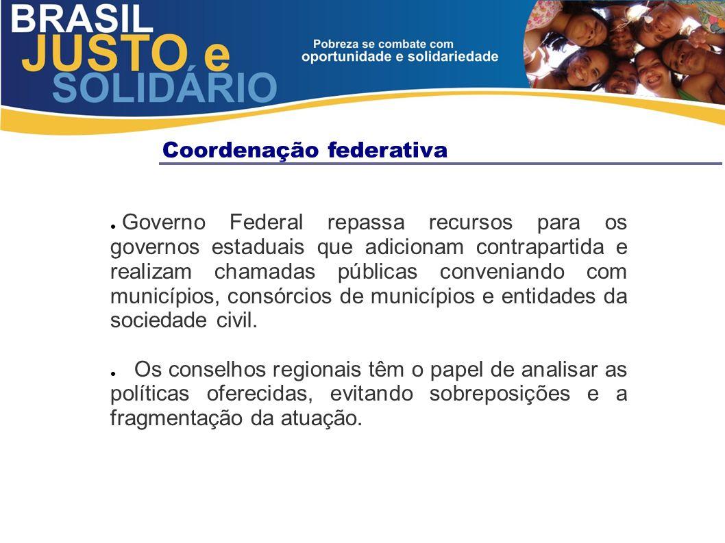 Coordenação federativa Governo Federal repassa recursos para os governos estaduais que adicionam contrapartida e realizam chamadas públicas conveniand